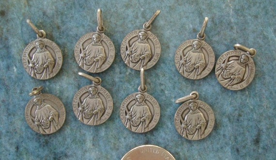 RARE LOT of  9 SIGNED French Silver Antique Vintage Saint Etienne Theodore Cuenot Catholic Religious Medals