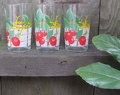 set of 3 vintage cherry glasses HAUSMITTEL