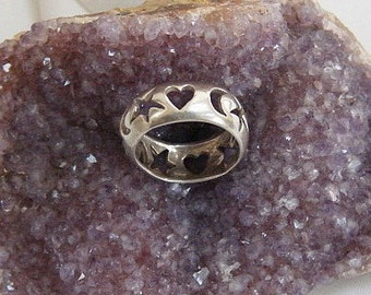 Vintage Sterling Silver Heart and Celestial Dome Band Ring
