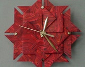 Red Marbled Origami Clock / Cool Gift Idea