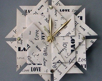 Memorable 1st Anniversary Gift - Love Origami Clock - Paper 1st Anniversary Gift - Large