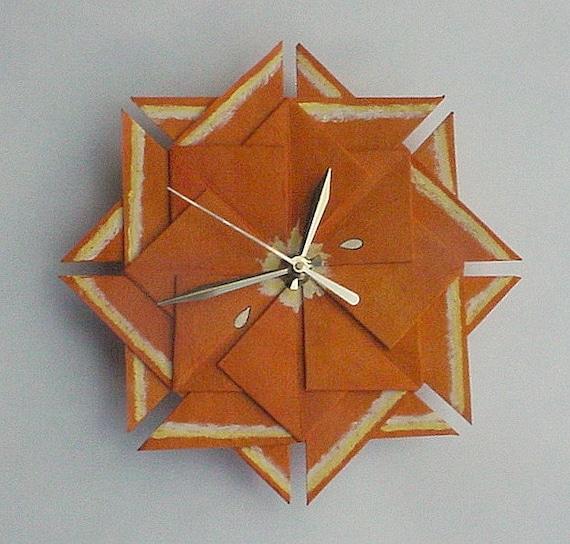 Kitchen Clock, Orange Origami Fruit Clock-Large