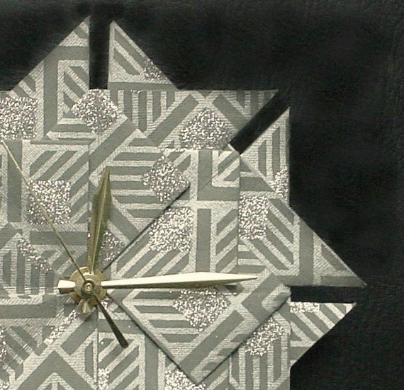 Origami 1st Anniversary-Wedding Gift Clock-Grey/Silver