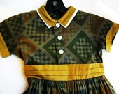 Reserved for hgbfeb, 1950's Vintage Child's Dress, Mustard, Green and Grey by  Barneche