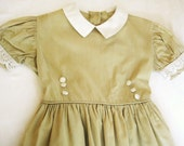 1950's Vintage Child's Dress, Wheat and White by  Barneche