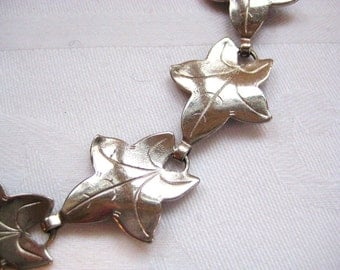SALE- Vintage Silver Leaf Necklace from Barneche/ Stephanie Barnes