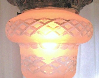Glorious Antique Etched  Glass and Golden  Metal Light Fixture from Barneche/ Stephanie Barnes