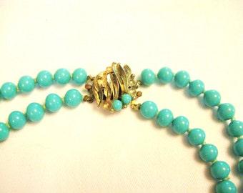 SALE- Elegant Vintage Faux Turquoise Necklace from Barneche/ Stephanie Barnes
