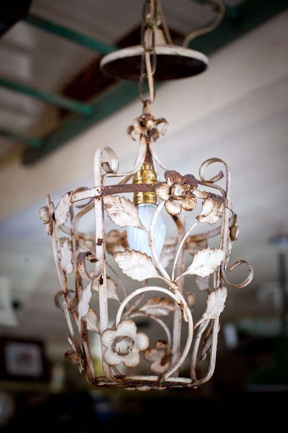 glorious vintage floral painted rod iron shabby chic light fixture. Black Bedroom Furniture Sets. Home Design Ideas