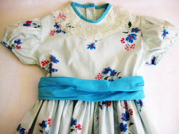 reserved for hgbfeb, 1950's Vintage Child's Dress, Sky Blue with Floral by  Barneche