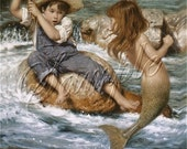 "vintage little MERMAID boy fishing catch stream water FANTASY blue greeen canvas art print Luvthiscanvasart on etsy 8.5""x11""  free s/h u.s."