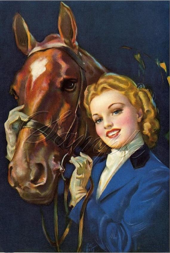 Vintage Equestrian Horse Pin Up Calendar Girl English Riding