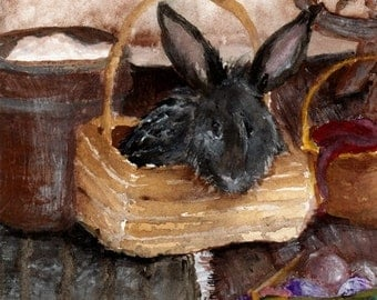 Rabbit Watercolor Painting Art Print Angora Rabbit In A Basket 5x7