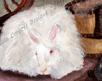 "RABBIT Watercolor Painting Art Print ""GENTLE GIANT"" Angora Rabbit"