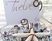 12 Starfish & Pearls Table Number Holders Beach Wedding Decoration