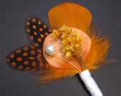 Rustic wedding boutonnieres orange boutonniere pin grooms boutonniere groomsmen orange boutineers for wedding pin whimsical wedding bouts
