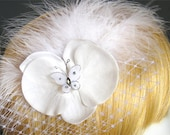 Mini birdcage bird cage veil white bridal hair accessories butterfly clips