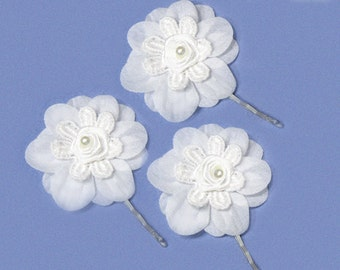 3 small bridal hair pins white wedding bobby pin bride bridesmaids
