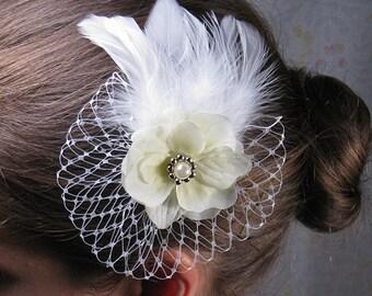Mini bird cage veil, ivory bride hair accessory, ivory flower