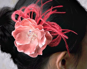 Burgundy red hair clip - feather fascinator - dusty pink wedding hair accessories - wrist corsage - Luscious Cranberry - hair piece