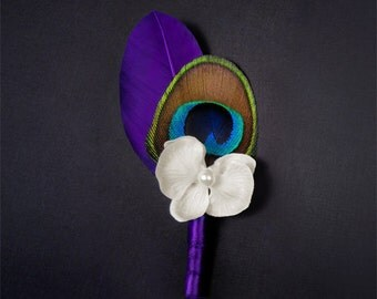 Unique boutonniere pin purple men lapel pins white orchid flower accessories for men wedding boutineer purple flower pin feather flowers