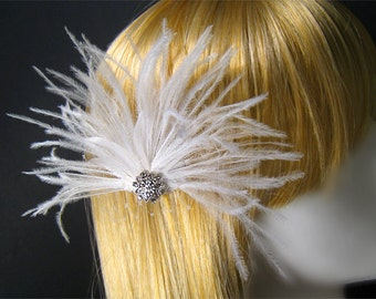 Bridal white head piece white bridal head piece white weddings accessories ostrich feather head piece bride wispy feather elegant head piece