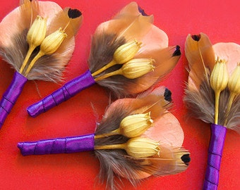 "Pheasant feather boutineers, fall wedding pins vibrant golden yellow, orange, fiery rust red, fall colours ""Enchanting Autumn"" boutonniere"