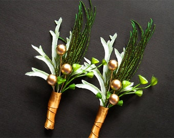 Wedding boutonnieres feather boutineers rustic green gold pearls winter boutonnieres autumn fall boutineers silk leaves rustic glam
