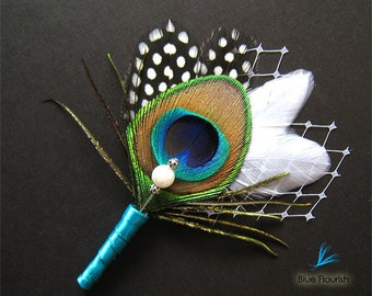 Groomsmen french netting boutineers peacock corsage pin wedding peacock teal boutonniere peacock wedding lapel pin mother of the bride