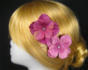 Small hair bobby pins dusty pink wedding fuchsia bridal bridesmaids flowergirl set of 2 raspberry pink fuschia rasberry flower girls