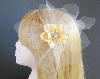 Dramatic bridal headpiece ivory flower white veil tulle large flower hairpiece with rhinestones large bridal fascinator rhinstones
