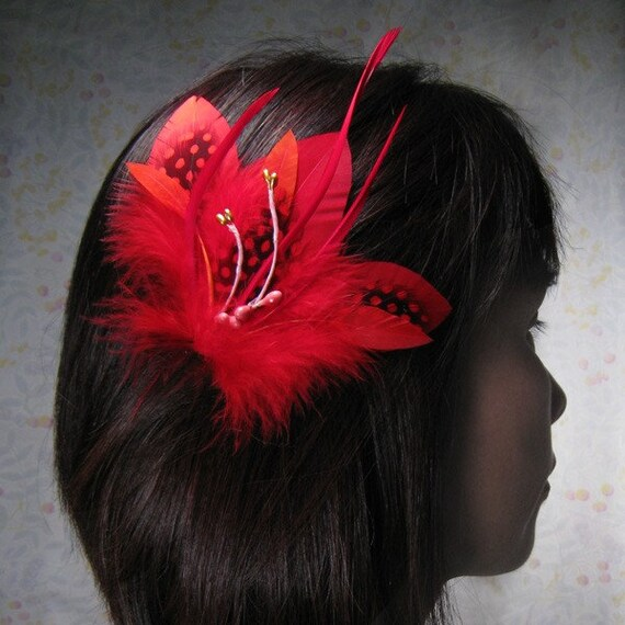 Medium red hair clips feathers gothic headpiece black blood goth wedding red feathers unique head piece