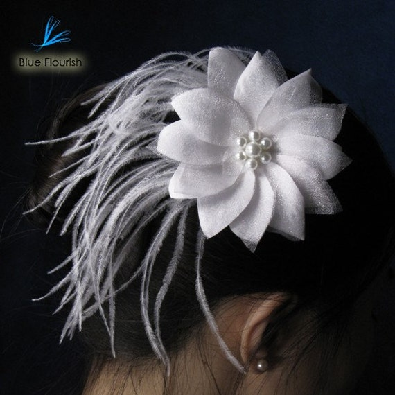 Ostrich feather hair clip - White Willow - bridal fascinator