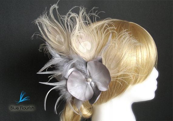 Large bridal hair piece dramatic wedding hair clip bride dramatic hair clip ivory peacock feather white peacock bride grey hair piece gray
