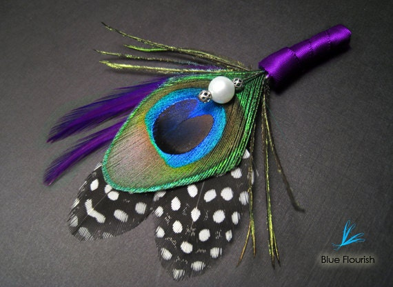 Purple Feathers Boutonnieres Peacock Feather Boutineers