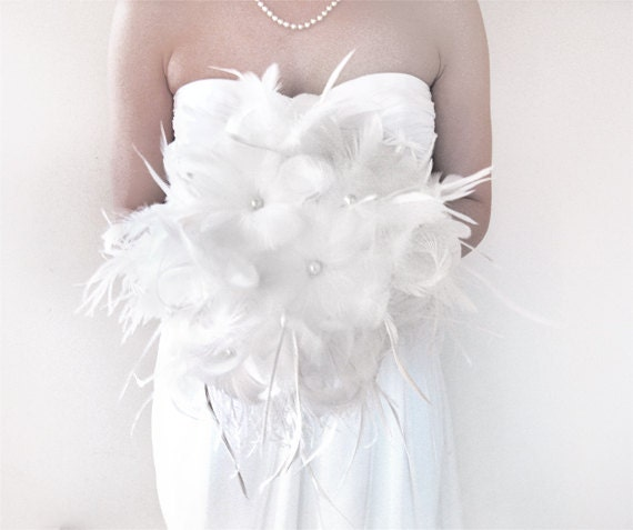 Diy Feather Bouquets Weddings: White Bouquet Feather Bouquets Bridal Unique Bride Feather