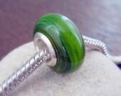 Pandora Style Glass Bead Silver Lined - Grass Green SRA