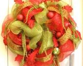 Deco Mesh Christmas Wreath Red Green Zebra