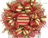 Deco Mesh Christmas Wreath For Door or Wall Lime Green & Red Glitter Wreath