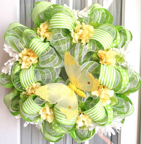 Spring Summer Mesh Wreath Lime Green White Stripes