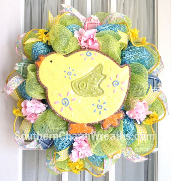 Deco Mesh Chick Cookie Easter Wreath