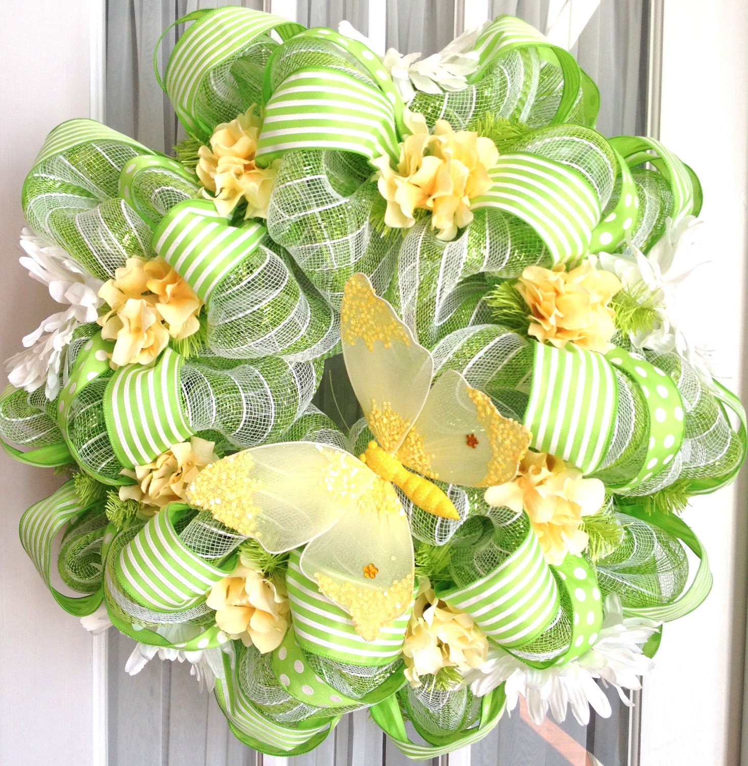 Fall decorating ideas for mantle - Spring Summer Mesh Wreath Lime Green White Stripes