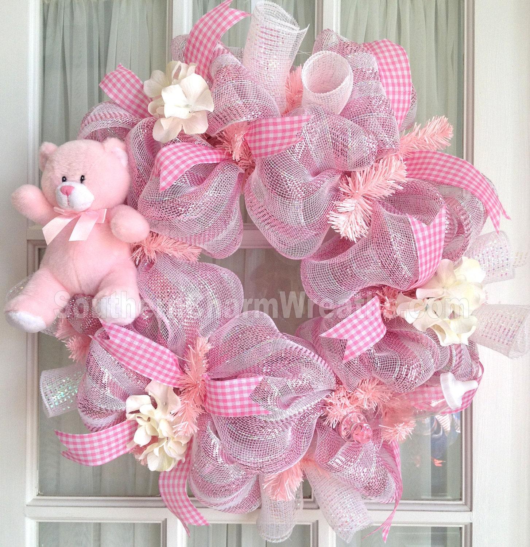 Deco mesh baby girl wreath pink white baby door hanger baby for Baby girl hospital door decoration
