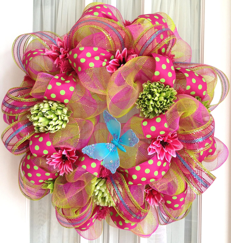 Funky Wall Clocks Deco Mesh Wreath Hot Pink Lime Turquoise Summer Door Wreath
