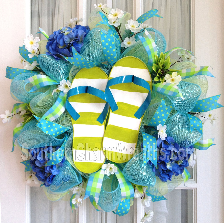 Flip flop wreaths flip flop decorations flip flop welcome wreath flip - Deco Mesh Wreath Lime Green Blue Stripe Flip Flops