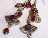 Antique Brass Earrings, Orient Themed Earrings, Dark Red, Crystal Earrings, Chinese Coin Charms, Fans, Flowers...Orient Express