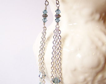 Rainfall... Handmade Jewelry Earrings Beaded Long Lightweight Dainty Sparkly Chain Crystal Light Blue Silver