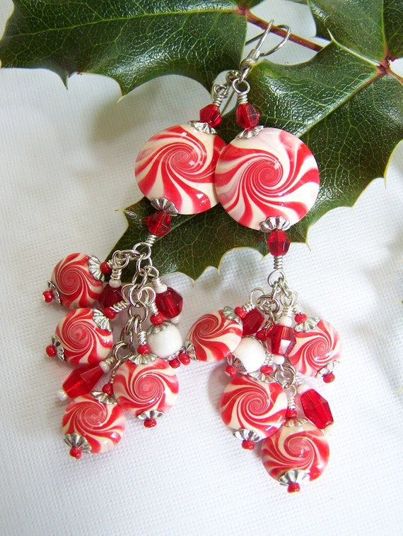 Christmas Earrings, Polymer Clay Christmas Earrings, Polymer Clay Earrings, Peppermint Candy, Red and White...Peppermint Twist