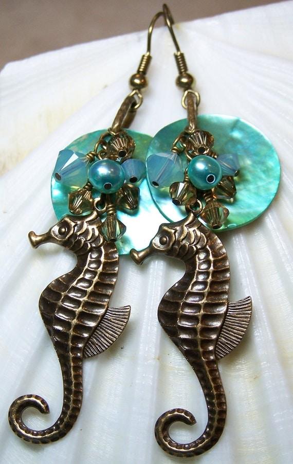 Beach Earrings, Seahorse, Antique Brass, Aqua...Enchantment Under the Sea