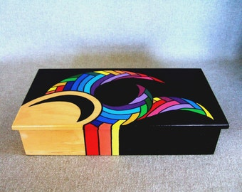 Unique Keepsake Box Rainbow Colors Jewelry Box Rad Gift For Dad Signed Artwork Home Decor Office Decor Office Gift Unique Gifts Wedding Gift